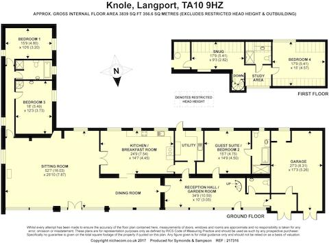 4 bed linkdetached house for sale in Knole Langport Somerset TA10 – Knole House Floor Plan