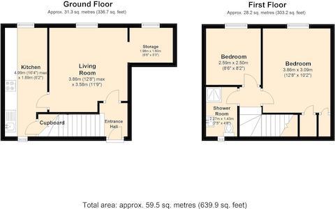 Flat 1 , 15 - 16 St Thomas St, Chepstow Floorplan.